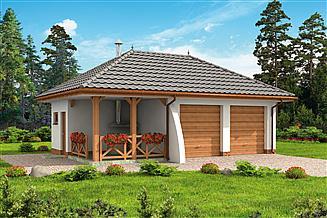 Projekt garażu G255 garaż dwustanowiskowy z pomieszczeniem gospodarczym i altaną szkielet drewniany