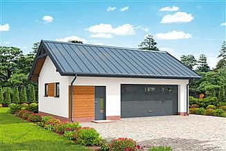 Projekt garażu G292 szkielet drewniany projekt garażu dwustanowiskowego z pomieszczeniem gospodarczym