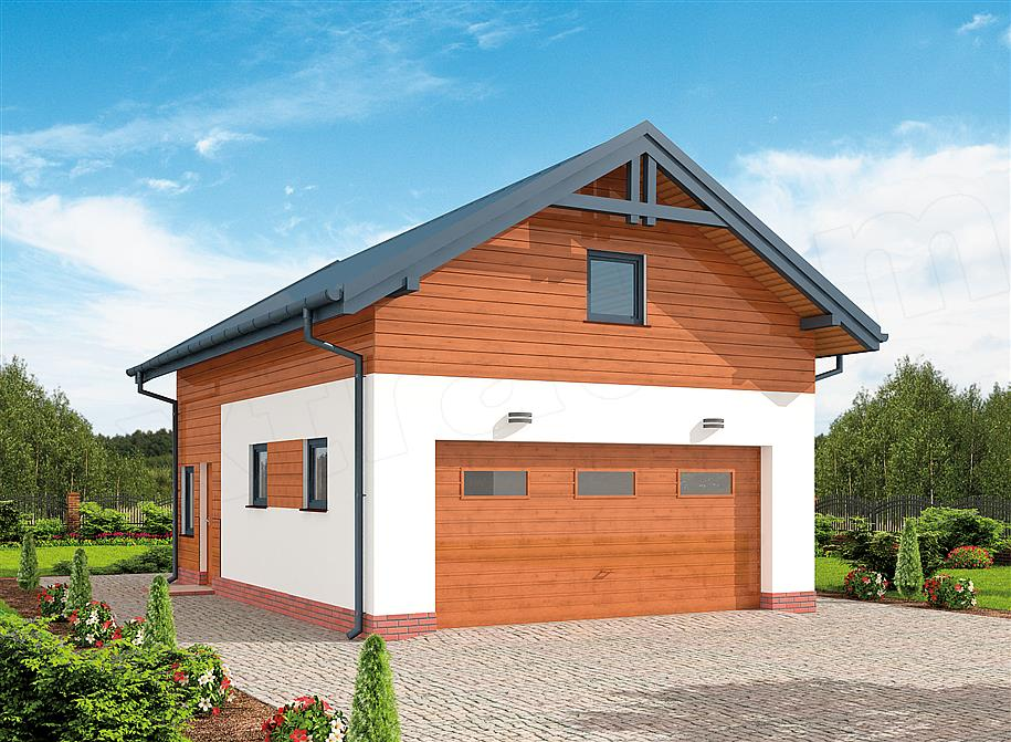 Projekt Garażu G298 Szkielet Drewniany Garaż Dwustanowiskowy Z