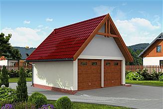 Projekt garażu G325 szkielet drewniany projekt garażu dwustanowiskowego