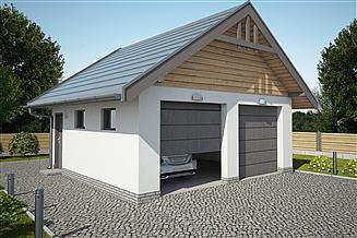 Projekt garażu G330A szkielet drewniany garaż dwustanowiskowy