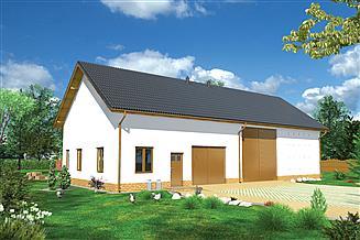 Projekt stodoły Murator IGC21 Stodoła z garażem i pomieszczeniami gospodarczymi