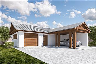 Projekt garażu G360 - Budynek garażowo - gospodarczy