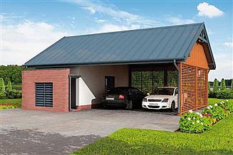 Projekt wiaty garażowej G275 szkielet drewniany wiata garażowa z pomieszczeniem gospodarczym
