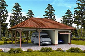 Projekt garażu G249 szkielet drewniany garaż i wiata dwustanowiskowa