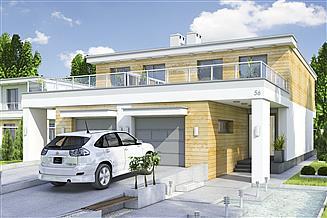Projekt domu Long II z garażem 1-st. bliźniak [A-BL1]