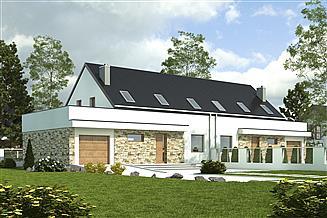 Projekt domu Sosnówka z garażem 1-st. bliźniak [A-BL2]