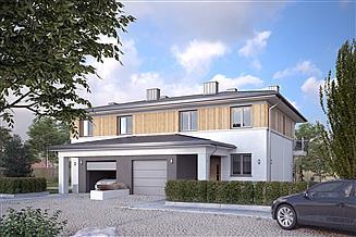 Projekt domu Karminowy zabudowa bliźniacza, 2 segmenty