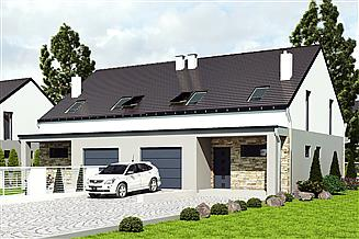 Projekt domu Mazurek z garażem 1-st. bliźniak [A-BL1]