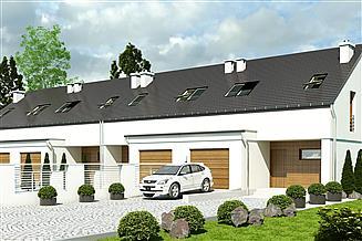 Projekt domu Makolągwa z garażem 1-st. szeregówka [A-SZ]