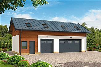Projekt garażu G299 szkielet drewniany garaż trzystanowiskowy z pomieszczeniem gosodarczym i poddaszem
