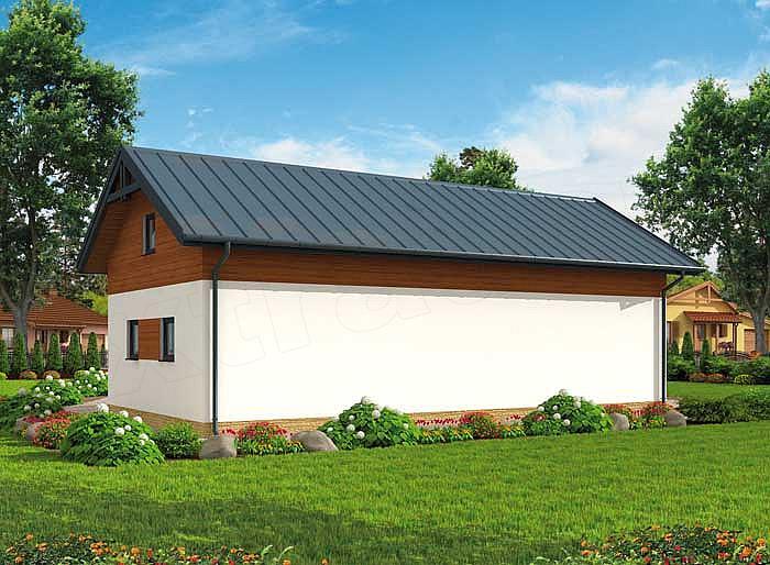 Projekt Garażu G299 Szkielet Drewniany Garaż Trzystanowiskowy Z Pom