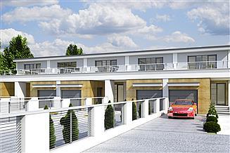 Projekt domu Long z garażem 1-st. szeregówka [A-SZ]