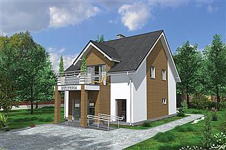 Projekt budynku usługowego Murator UC48a Budynek usługowy z częścią mieszkalną