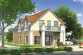 Projekt budynku usługowego Murator UC38a Budynek usługowy z częścią mieszkalną