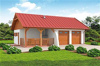 Projekt garażu G314 szkielet drewniany garaż dwustanowiskowy z pomieszczeniem gospodarczym i werandą