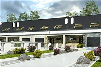 Projekt domu Mazurek II z garażem 1-st. szeregówka [A-SZ]