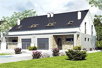 Projekt domu Mazurek II z garażem 1-st. bliźniak [A-BL1]