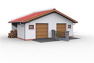 Projekt garażu G19 szkielet drewniany (jeden segment) do zbliźniaczenia