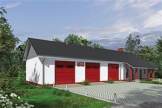 Projekt warsztatu Murator GMC38a Budynek garażowo-magazynowy z częścią pomocniczą