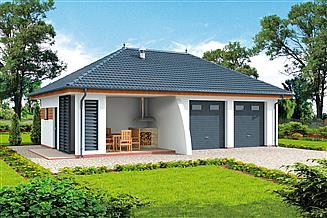 Projekt garażu G315 szkielet drewniany garaż dwustanowiskowy z pomieszczeniem gospodarczym i altaną