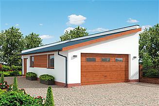 Projekt garażu G318 szkielet drewniany garaż dwustanowiskowy z pomieszczeniem gospodarczym