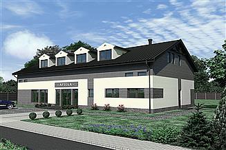 Projekt budynku usługowego Murator UC52b Budynek usługowy z częścią mieszkalną