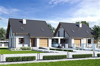 Projekt domu Biała z garażem i wiatą bliźniak [A1-BL]