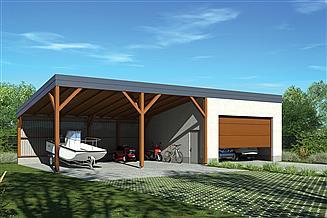Projekt garażu Murator G61 Garaż z wiatą garażową