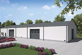 Projekt magazynu Murator GMC05b Budynek garażowo-magazynowy z częścią socjalno-biurową