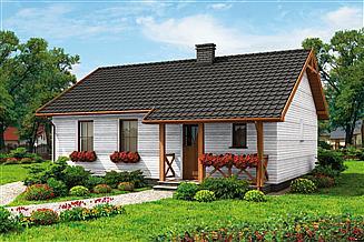 Projekt domu La Palma 2 C szkielet drewniany dom mieszkalny ogrzewanie kominek z płaszczem