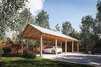 Projekt wiaty magazynowej G366 - Wiata drewniana