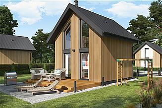 Projekt domu letniskowego Lido 2 A szkielet drewniany dom letniskowy na zgłoszenie do 35 m2